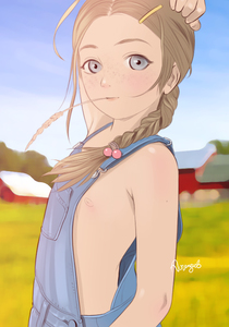Rating: Questionable Score: 33 Tags: 1girl barrette blue_eyes braid brown_hair denim farm flat_chest freckles grey_eyes hair_bobbles hair_ornament hand_on_head hayseed long_hair looking_at_viewer naked_overalls nipples outdoors overalls standing tears-of-blade User: flondrix