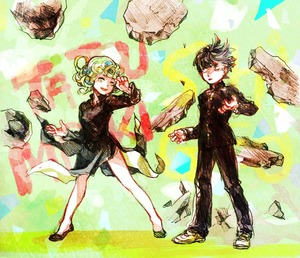 Rating: Safe Score: 0 Tags: 1boy 1girl bangs black_dress black_hair black_pants blunt_bangs character_name creator_connection crossover curly_hair dress flats floating floating_hair gakuran green_eyes green_hair kageyama_shigeo legs_apart levitation long_sleeves looking_at_another mob_psycho_100 morisaki_tsugumi one-punch_man pants psychic rock school_uniform shoes short_hair side_slit sketch smile standing tatsumaki User: DMSchmidt