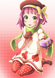 Rating: Safe Score: 0 Tags: 1girl bangs blush bow buttons capcom club gift gift_box green_eyes heart hibiki_misora highres kneeling looking_at_viewer mittens open_mouth patterned_background polka_dot polka_dot_legwear present purple_hair ribbon rockman ryuusei_no_rockman scarf shoes short_hair solo solo_focus spade User: Domestic_Importer