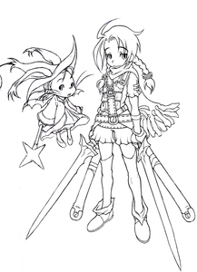 Rating: Safe Score: 0 Tags: 1girl ahoge boots braid character_request dual_wielding e10 final_fantasy gloves hat lineart monochrome moogle open_mouth scarf simple_background smile staff standing sword thighhighs twin_braids weapon whiskers wings witch_hat User: DMSchmidt