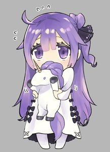 Rating: Safe Score: 0 Tags: 1girl ahoge azur_lane bangs black_bow black_ribbon blush bow chibi covered_mouth dress eyebrows eyelashes ezaki_papiko flying_sweatdrops grey_background hair_between_eyes hair_bun hair_ribbon highres legs_apart long_hair long_sleeves motion_lines pantyhose purple_eyes purple_hair ribbon shiny shiny_hair side_bun simple_background sleeves_past_wrists solo standing straight_hair stuffed_animal stuffed_toy stuffed_unicorn tareme unicorn unicorn_(azur_lane) very_long_hair white_dress white_legwear User: DMSchmidt