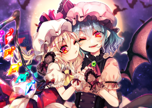 Rating: Safe Score: 0 Tags: 2girls ;) bat_wings black_wings blonde_hair blue_hair crystal eyebrows_visible_through_hair fang fingernails flandre_scarlet fua_yuu full_moon hair_between_eyes hat hat_ribbon looking_at_viewer mob_cap moon multiple_girls nail_polish night night_sky one_eye_closed outdoors pink_hat red_eyes red_nails red_ribbon remilia_scarlet ribbon sky smile touhou_project upper_body white_hat wings wrist_cuffs User: DMSchmidt