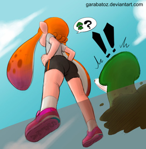 Rating: Safe Score: 1 Tags: !! 1girl ass from_below garabato hands_on_hips inkling orange_hair pointy_ears shoes sneakers spats splatoon squid tentacle_hair watermark web_address User: Domestic_Importer
