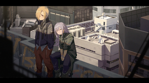 Rating: Safe Score: 0 Tags: 2girls :/ ahoge ankle_boots between_legs black_footwear black_jacket blonde_hair boots braid building city closed_mouth clothes_writing day ear_clip expressionless feet_out_of_frame graffiti green_coat hair_over_one_eye hand_between_legs hands_in_pockets highres hoshi_shouko idolmaster idolmaster_cinderella_girls jacket letterboxed long_hair long_sleeves looking_at_viewer multiple_girls on_railing outdoors pants peace_symbol pocket purple_eyes purple_hair purple_pants red_eyes red_pants rooftop shade shirasaka_koume short_hair short_sleeves side_braid sitting standing sunlight v_arms waterkuma User: DMSchmidt