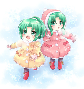 Rating: Safe Score: 0 Tags: 2girls :d boots bow coat gloves green_eyes green_hair higurashi_no_naku_koro_ni hood maekawa_suu multiple_girls open_mouth ponytail siblings sisters smile snowflakes snowing sonozaki_mion sonozaki_shion twins younger User: Domestic_Importer