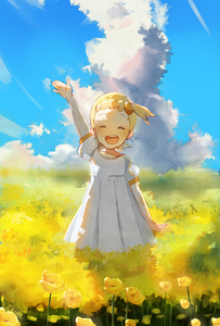 Rating: Safe Score: 0 Tags: 1girl :d arm_up blonde_hair blue_sky closed_eyes cloud creatures_(company) day dress ekm eureka_(pokemon) field flower game_freak nintendo open_mouth outdoors pokemon pokemon_(anime) short_hair sky smile solo standing white_dress User: Domestic_Importer