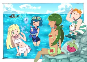 Rating: Safe Score: 3 Tags: 2boys 3girls artist_name bikini blonde_hair blue_hair blue_sky bounsweet brown_skin closed_eyes cloud dark_skinned_male day gen_7_pokemon goggles goggles_on_head green_eyes green_hair kaki_(pokemon) lillie_(pokemon) long_hair mamane_(pokemon) mao_(pokemon) moyori multiple_boys multiple_girls npc_trainer one-piece_swimsuit one_eye_closed open_mouth orange_hair pokemon pokemon_(anime) pokemon_(creature) pokemon_sm_(anime) popplio sarong short_hair sitting sky suiren_(pokemon) swimming swimsuit togedemaru trial_captain twin_tails water white_bikini User: DMSchmidt