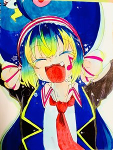 Rating: Safe Score: 0 Tags: 1girl :d armpits arms_up bangs black_jacket blue_hair blue_hat blue_jacket blush breath closed_eyes eyebrows_visible_through_hair facing_viewer fang green_hair hat headband highres long_hair long_sleeves musical_note necktie open_mouth otomachi_una pink_bow pink_collar raised_eyebrows red_headband red_neckwear simple_background smile solo star stars sweat sweatdrop tongue traditional_media twin_tails vocaloid water_drop water_droplets white_background white_bow white_collar white_headband white_shirt white_skin yellow yellow_bangs yellow_jacket User: Otomachi_Unagi