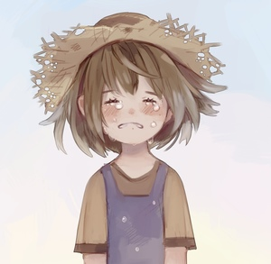 Rating: Safe Score: 0 Tags: 1girl blush brown_hair closed_eyes crying fairyapple hat original russian_commentary shirt short_hair short_sleeves simple_background solo straw_hat t-shirt tears upper_body User: DMSchmidt
