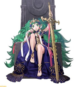 Rating: Safe Score: 5 Tags: 1girl barefoot braid fire_emblem fire_emblem:_fuukasetsugetsu gem green_eyes green_hair hair_ornament hand_on_own_cheek hand_on_sword jewellery kurahana_chinatsu legs_folded long_hair mamkute official_art pointy_ears ribbon sitting smile solo sothis sword throne tiara twin_braids twin_tails watermark weapon white_background User: DMSchmidt
