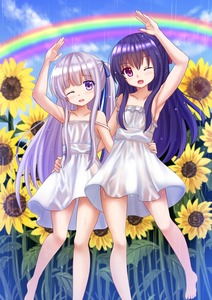 Rating: Safe Score: 1 Tags: 2girls ;d arm_up armpits bare_legs bare_shoulders barefoot blue_hair blue_sky collarbone dress eyebrows_visible_through_hair fang flower gotou_jun hair_ribbon hand_on_another's_hip highres kazenokaze long_hair looking_at_viewer momijidani_nozomi multiple_girls one_eye_closed open_mouth pink_eyes purple_eyes rain rainbow ribbon see-through side_ponytail silver_hair sky smile strap_slip sundress sunflower tenshi_no_3p! water_drop wet wet_clothes wet_dress white_dress User: Domestic_Importer
