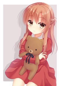 Rating: Safe Score: 1 Tags: 1girl alternate_costume animal_ears asuna_(sao) bare_legs black_eyes black_neckwar black_ribbon blush brown_eyes closed_mouth dot_eyes dot_nose dress eyebrows_visible_through_hair frame frown grey_background gyaoo_yuzu_soft highres holding holding_to_chest hug long_hair long_sleeves looking_at_viewer red_dress ribbon shadow simple_background solo stuffed_animal stuffed_toy sword_art_online teddy_bear younger User: DMSchmidt