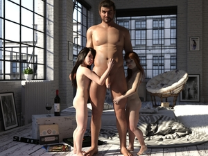 Rating: Explicit Score: 28 Tags: 1boy 2girls 3dcg age_difference bangs barefoot black_hair blunt_bangs breasts long_hair looking_at_viewer multiple_girls navel nipples nude penis photorealistic red_hair slimdog small_breasts User: yobsolo