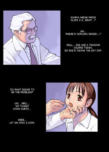 Rating: Safe Score: 2 Tags: 1boy 1girl age_difference bra_lift censored english glasses grey_hair hanainu highres mustache nurse_office orange_bullet red_eyes red_hair solo text thermometer translated twin_tails User: Software