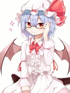 Rating: Safe Score: 0 Tags: 1girl arm_ribbon bangs bat_wings bespectacled between_legs black_legwear blouse blue_hair bow bowtie embellished_costume eyebrows_visible_through_hair fang frilled_blouse glasses hair_between_eyes hand_between_legs hand_on_eyewear hat hat_ribbon highres iyo_(ya_na_kanji) long_sleeves looking_at_viewer mob_cap pantyhose parted_bangs red_bow red_eyes red_neckwear red_ribbon remilia_scarlet ribbon semi-rimless_eyewear short_hair simple_background sitting skirt skirt_set slit_pupils smile solo sparkle symbol_commentary touhou_project under-rim_eyewear useless_tags wariza white_background white_blouse white_headwear white_skirt wings User: DMSchmidt