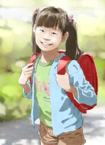 Rating: Safe Score: 4 Tags: 1girl backpack bag bangs black_hair blunt_bangs flat_chest looking_at_viewer smile standing tnt twin_tails User: fantasy-lover