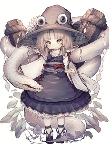 Rating: Safe Score: 0 Tags: 1girl absurdres bangs blonde_hair blunt_bangs brown_hat closed_mouth detached_sleeves dress eyeball flower frilled_dress frills full_body hat head_tilt highres hito_komoru looking_at_viewer mishaguji moriya_suwako obi onbashira parted_bangs purple_dress purple_footwear red_eyes red_ribbon ribbon ribbon-trimmed_sleeves ribbon_trim rope sash shide shimenawa shirt shoes sidelocks silver_hair simple_background smile snake solo standing touhou_project turtleneck white_background white_shirt white_snake User: DMSchmidt