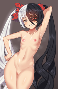 Rating: Questionable Score: 4 Tags: 1girl :d absurdres arm_behind_head arm_up armpits bangs black_hair blade_&_soul blush breasts clenched_teeth clitoris closed_mouth collarbone cowboy_shot eyepatch grey_eyes grin groin hair_between_eyes hand_on_hip highres long_hair looking_at_viewer multicoloured_hair navel nipples nt00 nude open_mouth paid_reward patreon_reward pohwaran pose pussy ribbon scrunchie sidelocks silver_hair small_breasts smile solo standing stomach sweat tagme teeth thighs twin_tails two-tone_hair uncensored very_long_hair User: Domestic_Importer