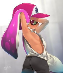 Rating: Questionable Score: 11 Tags: 1girl armpits arms_behind_head arms_up ass baseball_cap black_shorts breasts brown_skin camisole domino_mask from_behind hair_lift hat highres inkling long_hair looking_at_viewer looking_back mask nipples parted_lips purple_eyes purple_hair shorts shourin_bonzu sideways_glance small_breasts solo spats splatoon_(series) suction_cups tentacle_hair twisted_torso upper_body very_long_hair User: DMSchmidt