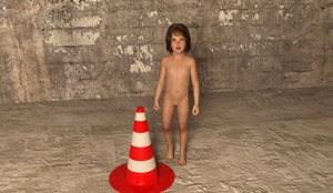 Rating: Questionable Score: 2 Tags: 1girl 3dcg barefoot blue_eyes brown_hair flat_chest looking_at_viewer lynx navel nipples nude open_mouth photorealistic pose standing traffic_cone User: fantasy-lover