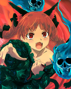 Rating: Safe Score: 0 Tags: 1girl animal_ears bare_shoulders braid cat_ears fangs ghost kaenbyou_rin nail_polish red_eyes ribbon slit_pupils solo touhou_project twin_braids yuu_(kfc) User: DMSchmidt