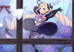 Rating: Safe Score: 7 Tags: 1girl :d black_bloomers black_dress black_footwear black_gloves black_legwear blonde_hair bloomers blue_flower blue_umbrella blurry blurry_foreground blush boots bow day depth_of_field dress elise_(fire_emblem_if) fire_emblem fire_emblem_if flower gloves holding holding_umbrella hydrangea indoors long_hair long_sleeves multicoloured_hair open_mouth pink_bow puffy_long_sleeves puffy_sleeves purple_eyes purple_flower purple_hair rain smile solo streaked_hair thigh_boots thighhighs transistor twin_tails umbrella underwear very_long_hair window User: DMSchmidt