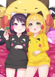 Rating: Safe Score: 4 Tags: 2girls animal_ears atg_(wttoo0202) bangs bed_sheet black_shirt blonde_hair blush candy cat_ears closed_mouth collarbone eyebrows_visible_through_hair food green_eyes highres holding holding_lollipop licking lollipop looking_at_viewer lying multiple_girls on_back open_mouth original petals pocket purple_eyes purple_hair shirt short_hair smile sweatshirt upper_teeth yellow_shirt User: DMSchmidt