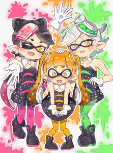 Rating: Safe Score: 2 Tags: 3girls absurdres aori_(splatoon) bare_shoulders black_hair blonde_hair blush domino_mask dress earrings embarrassed fangs gloves hand_on_another's_head highres hotaru_(splatoon) inkling jewellery long_hair looking_at_viewer mask mole mole_under_eye multiple_girls nintendo one_eye_closed open_mouth pantyhose pointy_ears short_hair silver_hair smile splatoon splatoon_1 suguharu86 symbol-shaped_pupils tentacle_hair twin_tails yellow_eyes User: DMSchmidt
