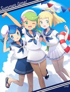 Rating: Safe Score: 4 Tags: 3girls bad_id bad_twitter_id blonde_hair blue_eyes blue_hair brown_skin flip-flops green_eyes green_hair hair_ribbon hat highres lillie_(pokemon) long_hair looking_at_viewer mao_(pokemon) mei_(maysroom) multiple_girls npc_trainer one_eye_closed open_mouth pokemon pokemon_(game) pokemon_sm ponytail ribbon sailor sandals short_hair shorts skirt suiren_(pokemon) trial_captain twin_tails User: DMSchmidt