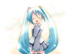 Rating: Safe Score: 1 Tags: 1girl aqua_hair closed_eyes ham_(points) hatsune_miku long_hair oekaki singing solo thighhighs twin_tails very_long_hair vocaloid zettai_ryouiki User: DMSchmidt
