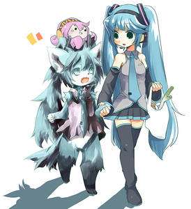 Rating: Safe Score: 0 Tags: !_ko 2girls animal_ears aqua_eyes aqua_hair bag cat_ears detached_sleeves fangs fur hatsune_miku headphones headset holding_hands kemono long_hair megurine_luka multiple_girls necktie skirt spring_onion tail takoluka thighhighs twin_tails vocaloid zettai_ryouiki User: DMSchmidt
