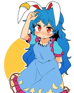 Rating: Safe Score: 0 Tags: 1girl animal_ears arm_behind_back blue_dress blue_hair blush bunny_ears bunny_tail crescent dress ear_clip frilled_dress frills hair_twirling hand_on_own_head ini_(inunabe00) long_hair looking_up open_eyes puffy_short_sleeves puffy_sleeves red_eyes seiran_(touhou) short_sleeves simple_background solo star tagme tail touhou_project User: DMSchmidt