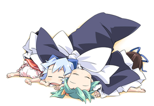 Rating: Safe Score: 1 Tags: 4girls barefoot bloomers blue_hair brown_hair chibi cirno daiyousei fairy forehead green_hair ham_(points) hat in_hat multiple_girls pointy_ears ribbon sleeping star_sapphire sunny_milk team_shanghai_alice touhou_project witch_hat User: DMSchmidt