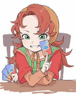 Rating: Safe Score: 2 Tags: 1girl absurdres bangs blush brown_hair card chair dragon_quest dragon_quest_vii green_eyes green_tunic grin hand_up head_scarf highres holding holding_card long_hair long_sleeves looking_at_viewer maribel messy_hair short_over_long_sleeves short_sleeves sitting smile solo tsurime tunic upper_body very_long_hair white_background wide_sleeves yamamoto_souichirou User: DMSchmidt