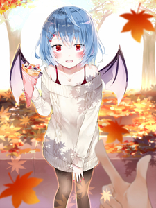 Rating: Safe Score: 0 Tags: 1girl autumn_leaves black_legwear blue_hair blush collarbone crepe day demon_wings dress eyebrows_visible_through_hair food hair_between_eyes hair_ornament hairclip highres holding holding_food index_finger_raised jewellery leaf looking_at_viewer maple_leaf nail_polish necklace off-shoulder_dress off_shoulder open_mouth outdoors pantyhose red_eyes red_nails remilia_scarlet shiny shiny_hair short_hair standing sweater sweater_dress touhou_project white_sweater wings yurara_(aroma42enola) User: DMSchmidt