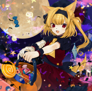 Rating: Safe Score: 0 Tags: 1girl :d absurdres animal_ear_fluff animal_ears ascot bandaged_arm bandages bangs basket bat black_hairband black_hat black_shirt blush candy cat_ears cowboy_shot crystal daimaou_ruaeru eyebrows_visible_through_hair fangs flandre_scarlet food frilled_shirt_collar frills full_moon hair_ribbon hairband hat hat_ribbon highres holding holding_basket kemonomimi_mode lollipop long_hair looking_at_viewer mob_cap moon one_side_up open_mouth puffy_short_sleeves puffy_sleeves red_ribbon red_skirt red_vest remilia_scarlet ribbon shirt short_sleeves skirt skirt_set smile solo sparkle star tail touhou_project vest wings wolf_ears wolf_tail wrist_cuffs yellow_neckwear User: DMSchmidt
