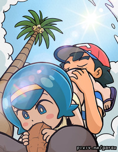 Rating: Explicit Score: 2 Tags: 1boy 1girl age_difference alolan_exeggutor bangs black_hair black_pants blue_eyes blue_hair blue_sky blunt_bangs blush_stickers bottomless closed_eyes cloud cloudy_sky creatures_(company) cunnilingus fellatio flip-flops from_below game_freak garabato hairband hat hetero hou_(pokemon) looking_at_another looking_down nintendo open_mouth oral outdoors pants penis pokemon pokemon_(anime) pokemon_sm_(anime) red_hat sandals satoshi_(pokemon) shirt sitting sky striped striped_shirt sun tank_top uncensored watermark web_address User: Domestic_Importer