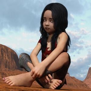 Rating: Safe Score: 3 Tags: 1girl 3dcg barefoot black_hair blue_eyes desert flat_chest lunarctic nail_polish photorealistic sitting solo User: fantasy-lover