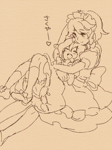 Rating: Safe Score: 0 Tags: 2girls ^_^ apron arm_up bloomers bow braid clenched_hand closed_eyes closed_mouth dot_nose dress eyebrows_visible_through_hair frilled_apron frilled_sleeves frills hair_between_eyes hair_bow hair_ornament hand_up happy headdress heart hug hug_from_behind izayoi_sakuya kneehighs knees_up looking_at_another lying lying_on_person maid_headdress meeko monochrome multiple_girls nose on_back open_mouth petting puffy_sleeves remilia_scarlet sepia_background shoe_bow shoes short_hair side_braid sitting smile touhou_project underwear |d User: DMSchmidt