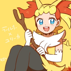 Rating: Safe Score: 1 Tags: 1girl blonde_hair blue_eyes braixen braixen_(cosplay) cosplay eureka_(pokemon) gen_6_pokemon moyori pokemon pokemon_(anime) pokemon_xy_(anime) simple_background smile solo stick yellow_background User: Domestic_Importer