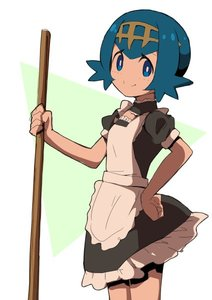 Rating: Safe Score: 0 Tags: 1girl alternate_costume apron bangs black_dress blue_eyes blue_hair blush closed_mouth dress enmaided frilled_dress frills hair_between_eyes hand_on_hip holding looking_at_viewer looking_to_the_side maid maid_apron natsunagi_takaki npc_trainer pokemon pokemon_(game) pokemon_sm puffy_short_sleeves puffy_sleeves short_hair short_sleeves smile solo standing suiren_(pokemon) trial_captain white_apron User: DMSchmidt