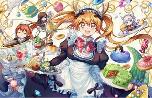 Rating: Safe Score: 0 Tags: 1boy 5girls :3 :d :t apron bangs beads black_bow black_dress black_pants black_shoes blue_eyes blunt_bangs blush bow bowl breasts brooch brown_eyes brown_hair cake caramel cherry chibi chin_rest closed_eyes closed_mouth cup cupcake d:< dessert doughnut dragon_horns dragon_tail dragon_tail_cake dress eating elma_(maidragon) english eyebrows_visible_through_hair fafnir_(maidragon) floral_print food formal frilled_apron frills fruit glasses glint gloves green_hair hair_beads hair_between_eyes hair_ornament head_tilt headdress holding holding_tray horn horns jewellery kanna_kamui kaze-hime kobayashi-san_chi_no_maidragon kobayashi_(maidragon) lavender_hair lettuce long_hair long_sleeves looking_at_viewer low_twintails lying macaron maid maid_headdress medium_breasts multiple_girls neck_ribbon on_side open_mouth outstretched_arm pants parted_bangs parted_lips pudding puffy_long_sleeves puffy_sleeves quetzalcoatl_(maidragon) red_eyes red_hair red_ribbon ribbon rimless_eyewear sandwich shoes sitting smile spoon sprinkles strawberry sugar_cube suit swept_bangs tail tea teabag teacup teapot tooru_(maidragon) tray twin_tails very_long_hair waist_apron watermark web_address white_apron white_gloves wrapped_candy User: Domestic_Importer