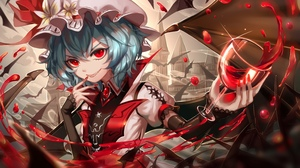 Rating: Safe Score: 1 Tags: 1girl bat black_wings blue_hair castle cup detached_sleeves drinking_glass flower grey_hat grin hair_between_eyes hat hat_flower highres holding holding_drinking_glass nail_polish outdoors red_eyes red_nails remilia_scarlet sharp_teeth short_hair short_sleeves smile solo sparkle teeth touhou_project upper_body white_flower wine_glass wings ze_xia User: DMSchmidt