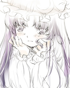 Rating: Safe Score: 0 Tags: 1girl face hands monochrome patchouli_knowledge sketch solo touhou_project yuu_(kfc) User: DMSchmidt