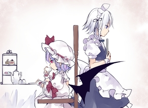 Rating: Safe Score: 0 Tags: 2girls apron back_cutout bat_wings beige_background black_ribbon blue_bow blue_dress blue_eyes blue_hair bow bowtie braid chair cup dress drinking eyebrows_visible_through_hair feet_out_of_frame frilled_apron frilled_shirt_collar frills from_side gradient gradient_background hair_bow hair_ribbon hat hat_ribbon headdress highres holding holding_cup holding_tray izayoi_sakuya maid maid_apron maid_headdress mob_cap multiple_girls petticoat plate profile puffy_short_sleeves puffy_sleeves red_bow red_eyes red_neckwear red_ribbon remilia_scarlet ribbon short_hair short_sleeves silver_hair sitting standing table tablecloth teacup teapot tiered_tray touhou_project toutenkou tray waist_apron white_apron white_background white_dress white_hat wings wrist_cuffs User: DMSchmidt