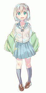 Rating: Safe Score: 1 Tags: 1girl bangs black_legwear blue_eyes blue_skirt blush brown_footwear clothes_down full_body green_jacket hair_between_eyes hair_ornament hairclip head_tilt hei_(tonarinohey) highres jacket kneehighs loafers looking_at_viewer open_mouth pleated_skirt school_uniform serafuku shirt shoes short_hair silver_hair simple_background skirt solo standing white_background white_shirt yama_no_susume yukimura_aoi User: DMSchmidt