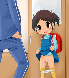 Rating: Questionable Score: 7 Tags: 1boy 1girl age_difference backpack bag black_eyes black_hair blush crime_prevention_buzzer door dress dress_lift flat_chest hair_ribbon lifted_by_self long_sleeves open_mouth original pantsu pantsu_pull puipui_(puipui_oracle) pussy randoseru red_bag ribbon shirt standing twin_tails uncensored underwear white_pantsu User: Domestic_Importer