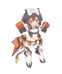Rating: Safe Score: 0 Tags: 1girl arms_up bangs blade_(galaxist) blush brown_hair clenched_hands covered_navel desktop_army eyebrows_visible_through_hair fang full_body gradient_hair hair_between_eyes headgear looking_at_viewer multicoloured_hair open_mouth orange_eyes power_armour red_hair short_hair simple_background solo standing tail white_background User: DMSchmidt