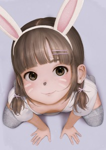 Rating: Safe Score: 22 Tags: 1girl animal_ears bangs blunt_bangs brown_hair earrings flat_chest jewellery kneeling long_hair looking_at_viewer looking_up marq_liza realistic shadow smile solo thighhighs User: fantasy-lover