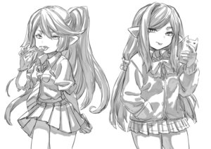 Rating: Safe Score: 2 Tags: 2girls :p arulumaya bow bowtie bracelet candy cellphone charlotta_fenia contemporary food granblue_fantasy greyscale harvin highres jacket jewellery lollipop long_hair low_ponytail monochrome multiple_girls necktie no_nose phone pointy_ears ponytail school_uniform shirt simple_background sketch skirt smartphone tongue tongue_out toriudonda User: DMSchmidt